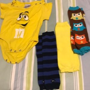 Lot of baby leg warmers and M&M onesie